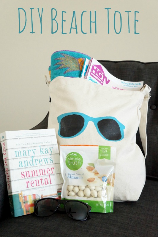 DIY Canvas Beach Tote Bag. Two Purple Couches for VRAI Magazine