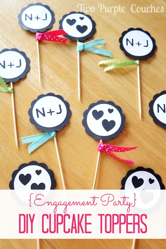 Engagement Party DIY Cupcake Toppers. via www.twopurplecouches.com