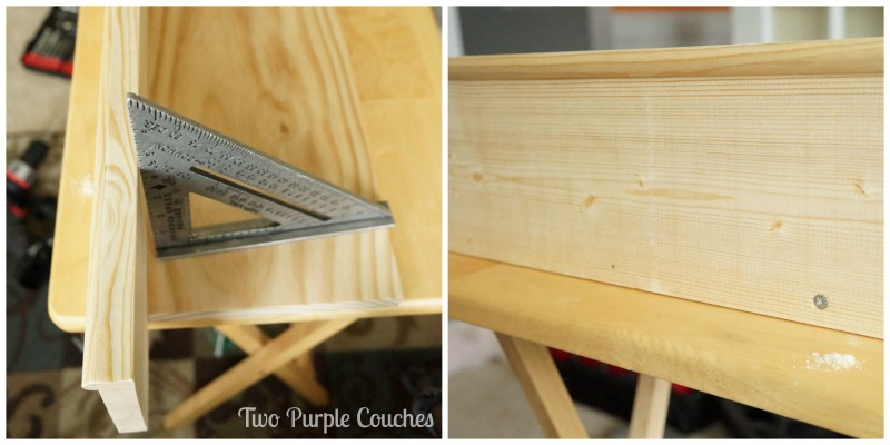Attaching the shelf top to the back. via www.twopurplecouches.com