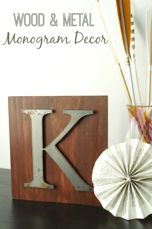 Wood & Metal Monogram Decor via www.twopurplecouches.com