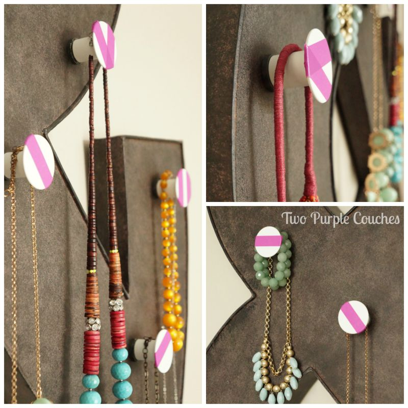 Turn metal wall decor into a functional jewelry display using metal Enudden knobs from IKEA! via www.twopurplecouches.com