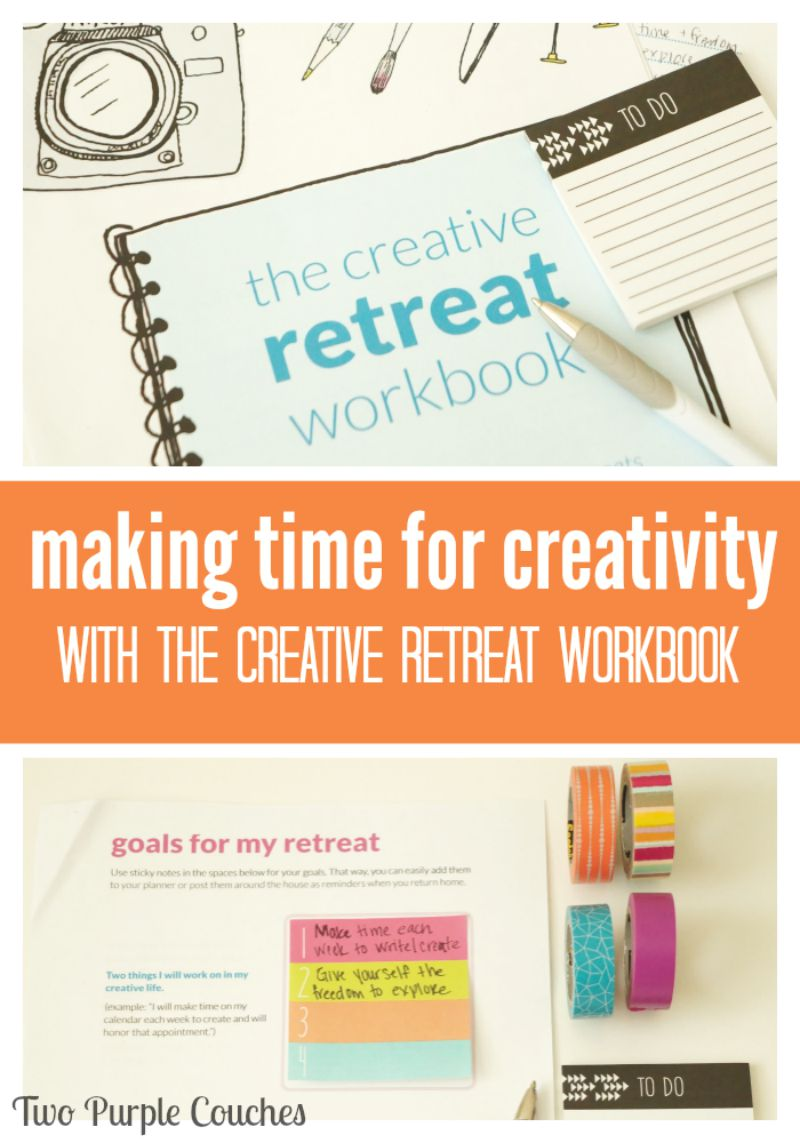 Making Time for Creativity with The Creative Retreat Workbook via www.twopurplecouches.com