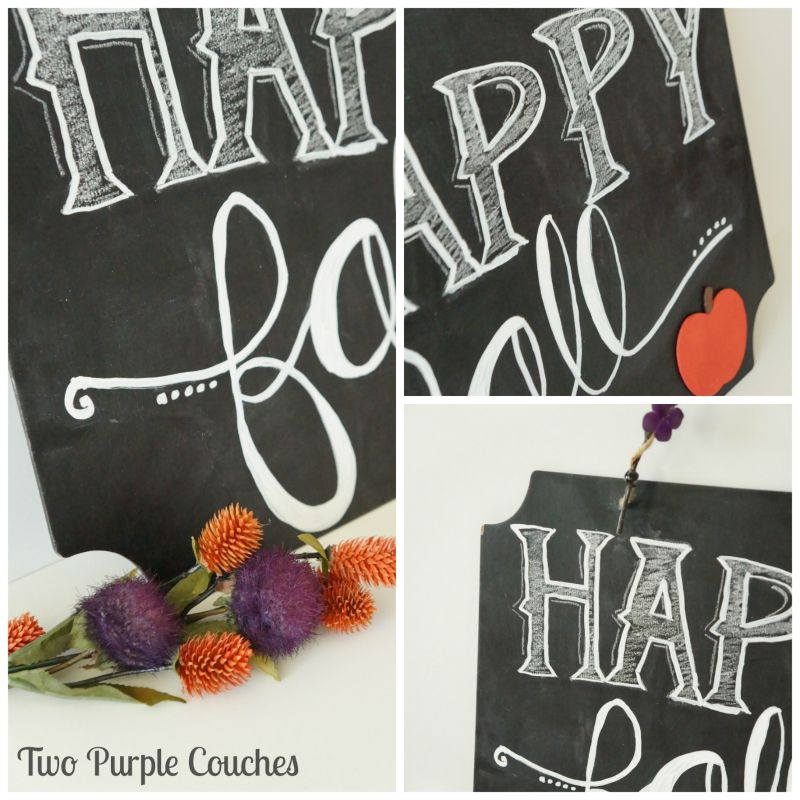 "Details of ""Happy Fall"" Chalkboard Sign. via www.twopurplecouches.com"