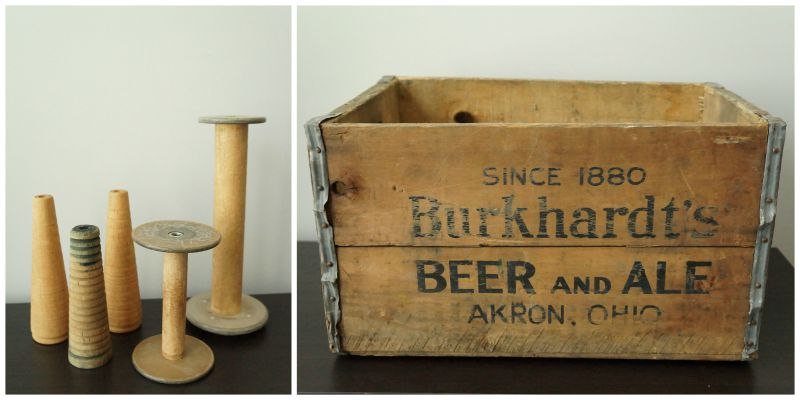 Incorporate flea market finds, like old wooden spools and drink crates, into seasonal decor for a natural and vintage touch. via www.twopurplecouches.com