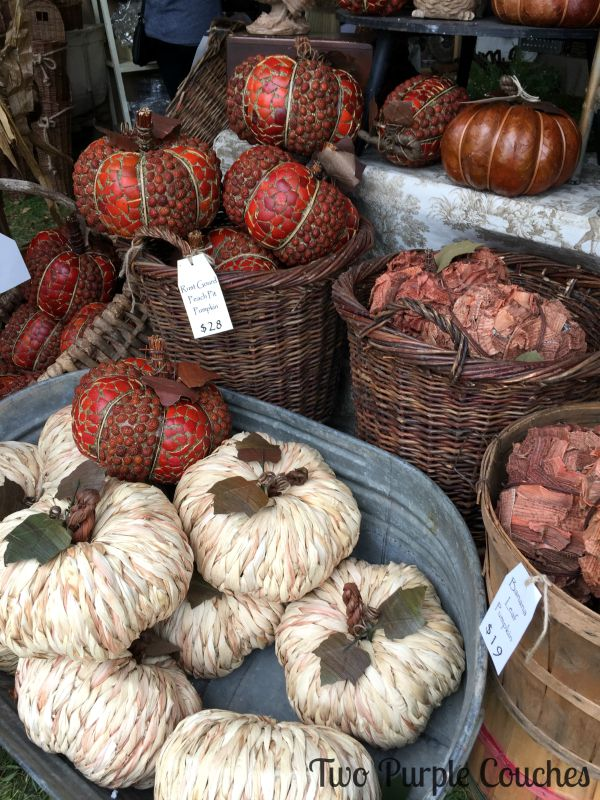 Beautiful pumpkins made from natural materials: seeds, leaves and more. Found at the 2015 Country Living Fair, Columbus, Ohio. via www.twopurplecouches.com