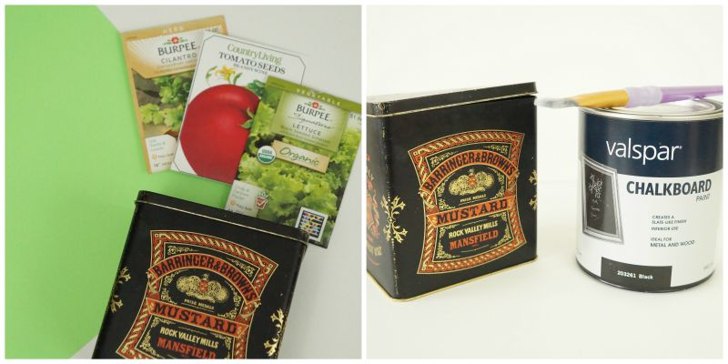 Materials needed to make your own seed packet storage tin.