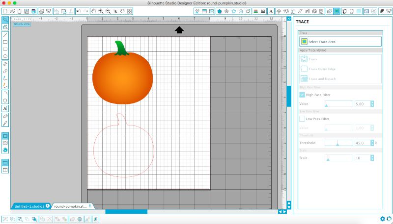 Import a pumpkin image into Silhouette Studio and use trace tool to trace shape.