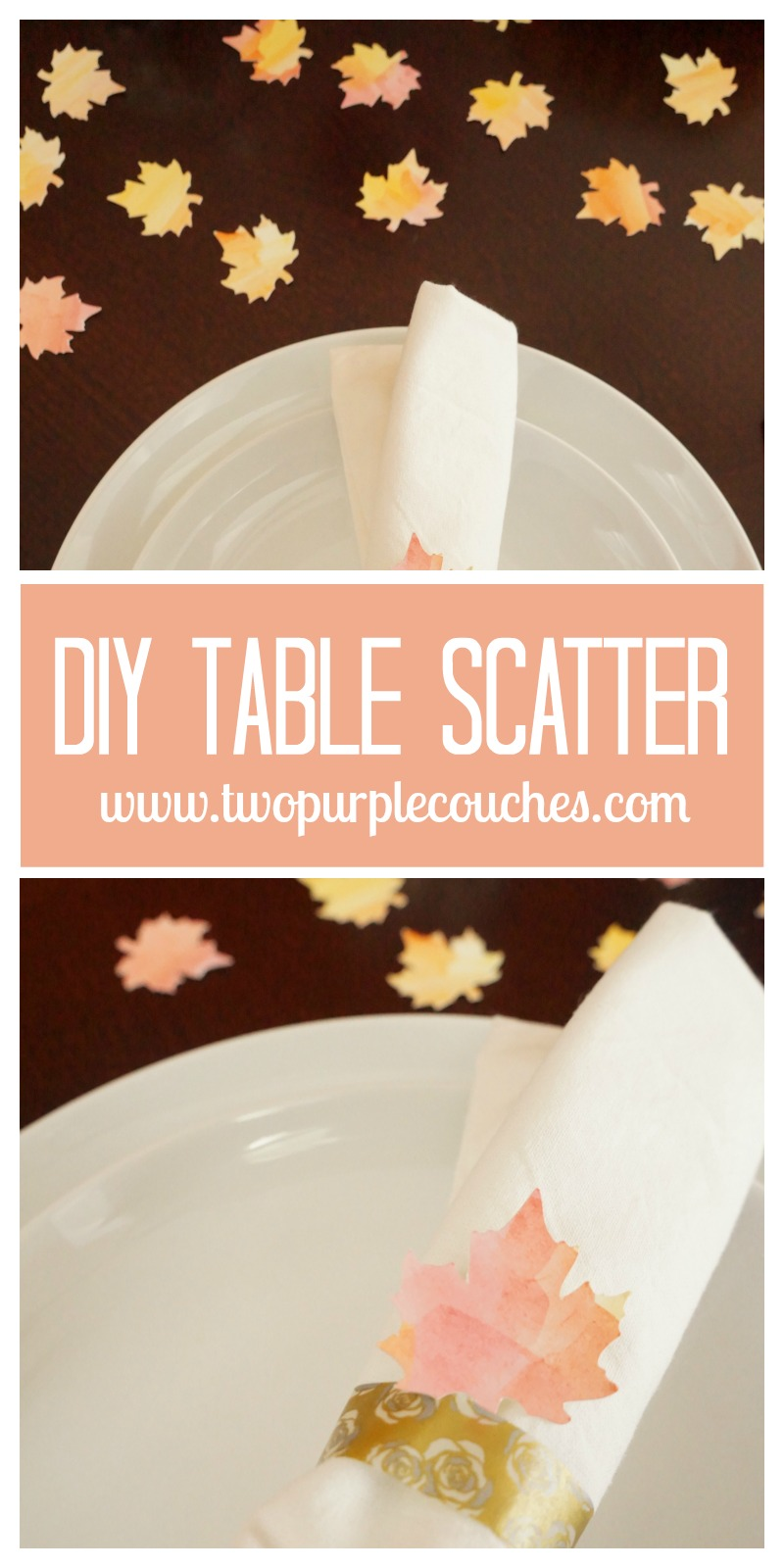 Make your own table scatter from watercolors—perfect for Thanksgiving dinner! via ww.twopurplecouches.com