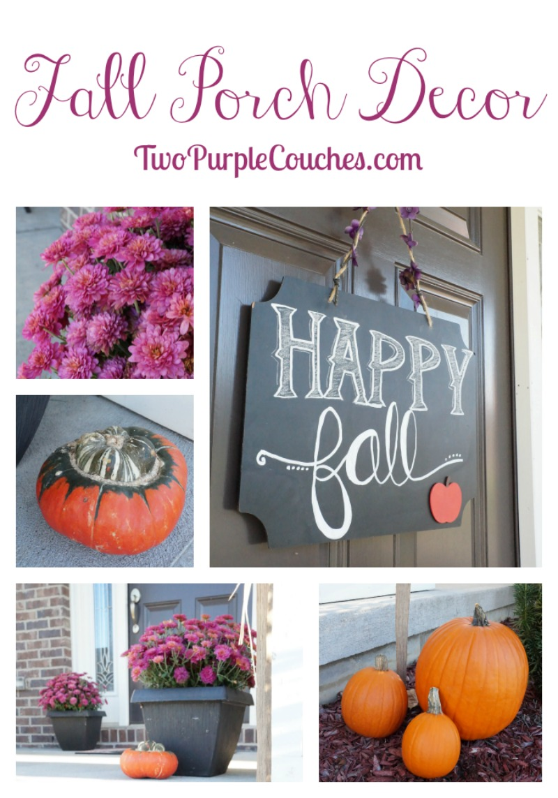 Create a simple yet classic Fall porch decor using potted mums and clusters of pumpkins. Top it all off with a chalkboard sign on the front door! via www.twopurplecouches.com