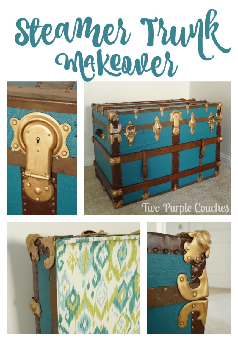 Gorgeous Steamer Trunk Makeover via www.twopurplecouches.com