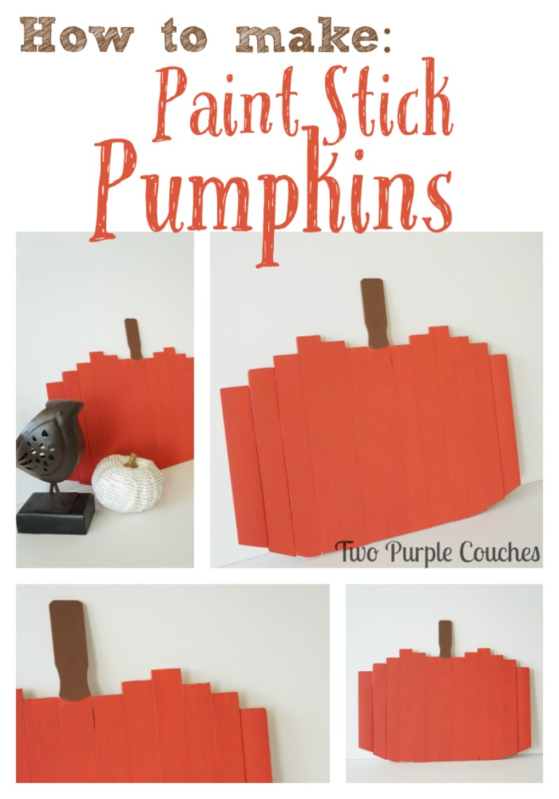 Check out this adorable—and simple!!—Fall craft idea! -- How to make paint stick pumpkins. via www.twopurplecouches.com