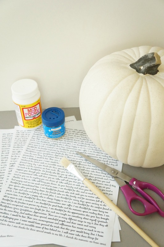 Decoupage supplies for book page covered pumpkins