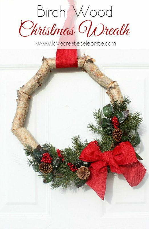 Christmas Birch Wood Wreath from Love Create Celebrate