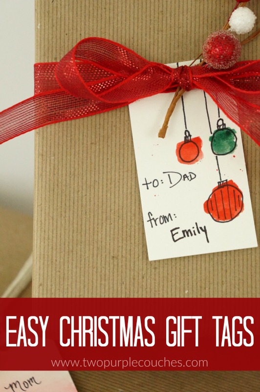 Easy Watercolor Christmas Gift Tags Two Purple Couches
