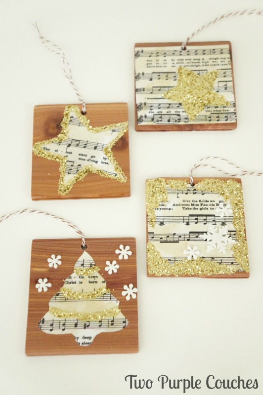 Beautiful glittered vintage sheet music DIY Christmas ornaments. Love the idea to use cookie cutters to make the shapes!