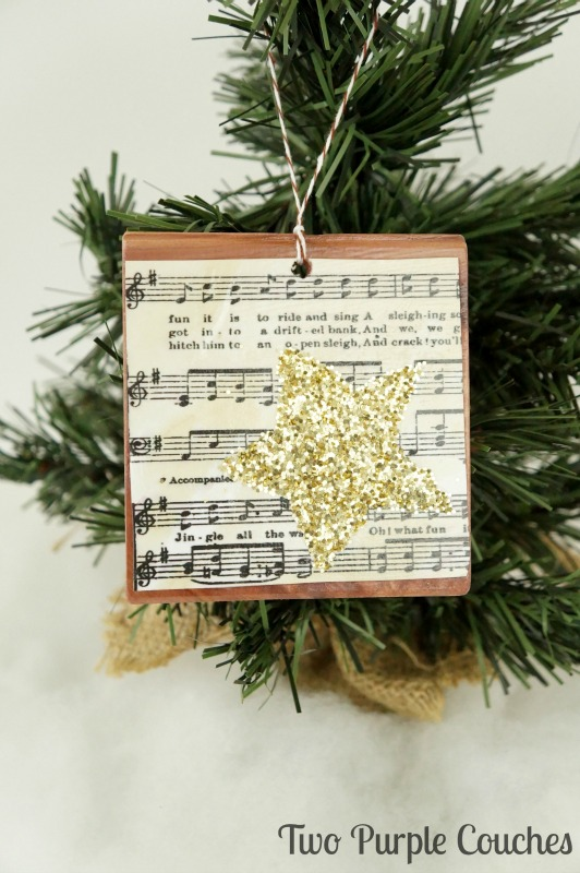 Glam and gorgeous glittered sheet music Christmas ornaments. Easy to make and perfect for vintage-glam style holiday decor.