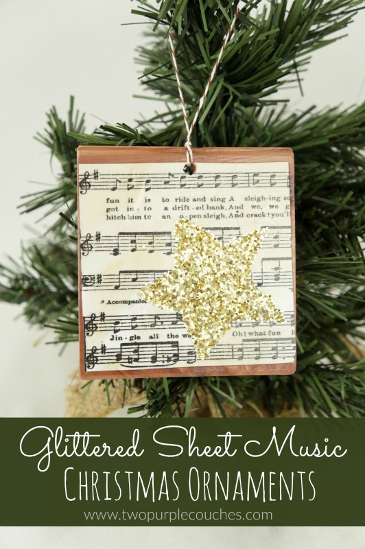 Gorgeous glittered sheet music ornaments are perfect for Christmas decorating with vintage style.