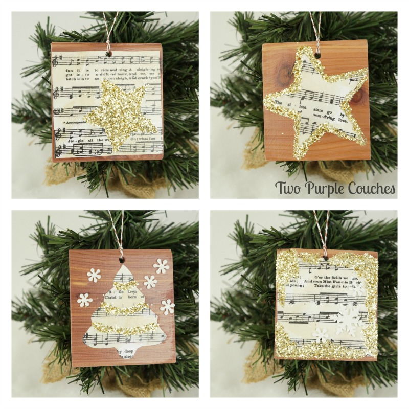 Use vintage-style sheet music, glitter and cookie cutters to create these gorgeous glittered ornaments for the holidays.