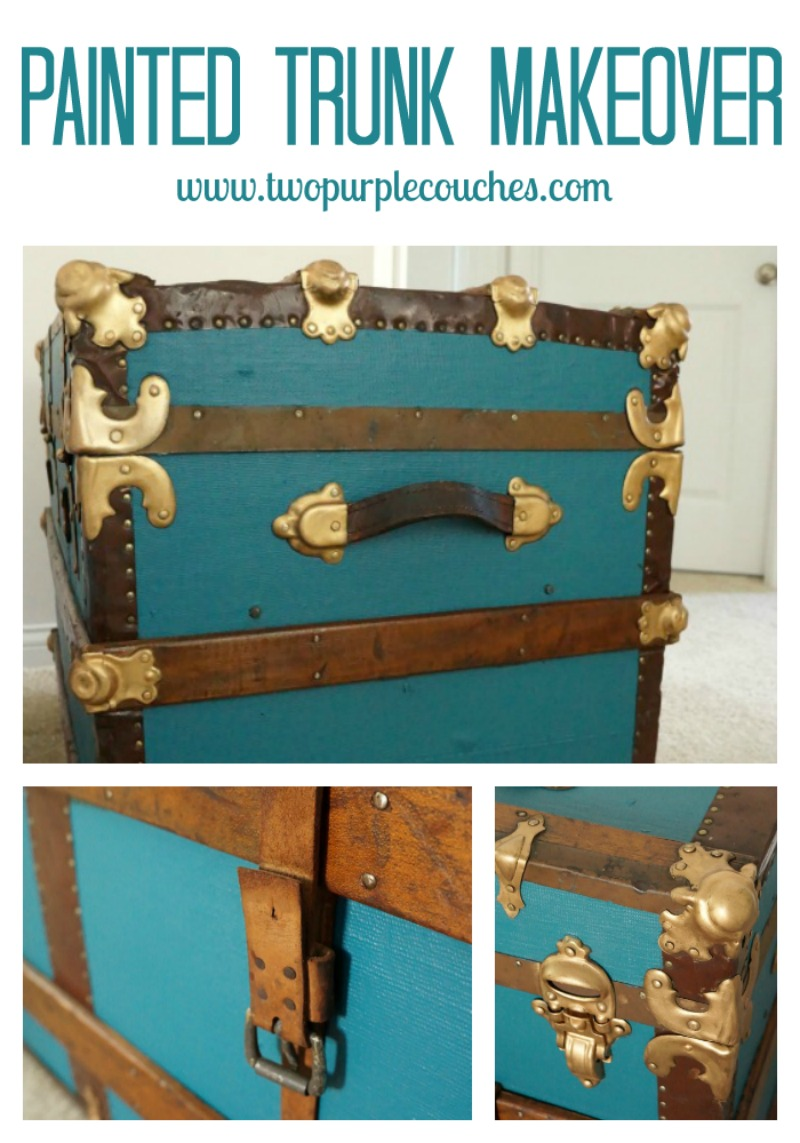 Incredible vintage steamer trunk makeover! From blah to bold and beautiful.