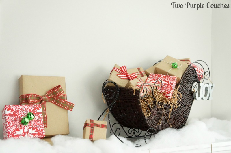 Fill a rustic sleigh full of brown paper gifts topped with pretty plaid ribbons.