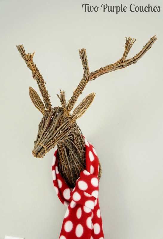 Dress up a rustic grapevine reindeer with a no-sew fleece scarf!