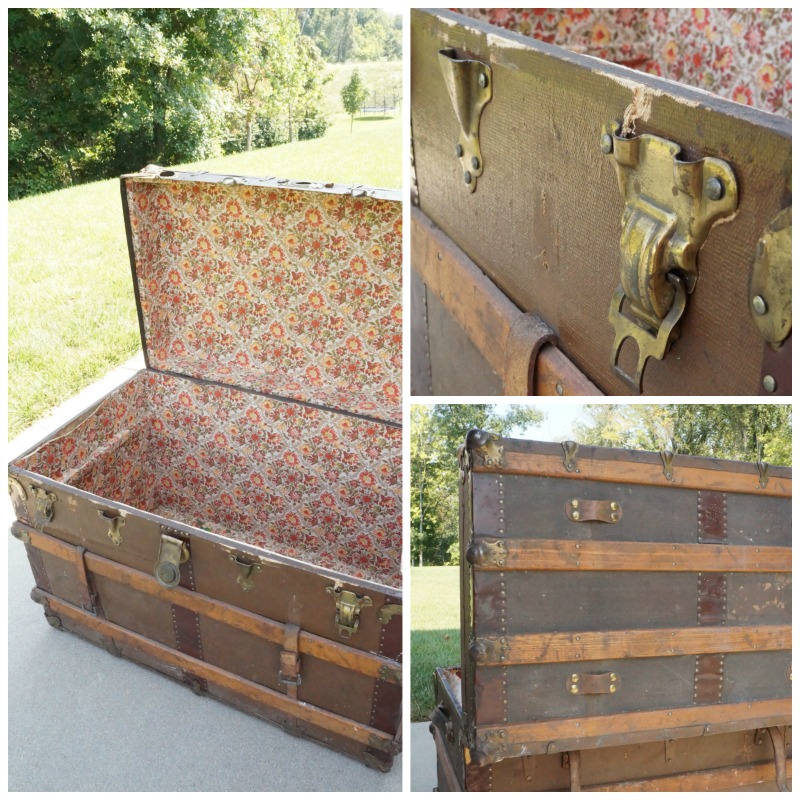 "You MUST see the ""after"" of this vintage trunk makeover. The transformation is amazing!"