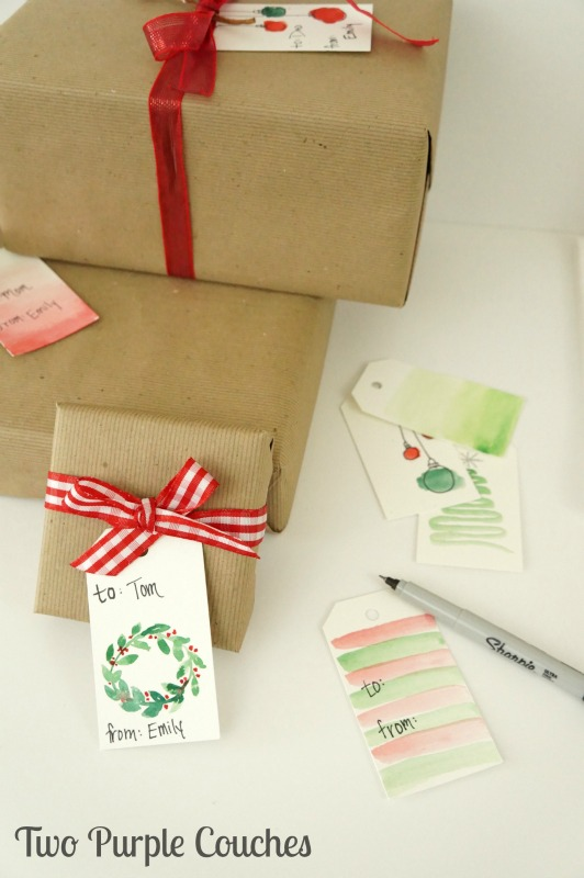 Easy watercolor gift tags that you can DIY for holiday gift-giving.