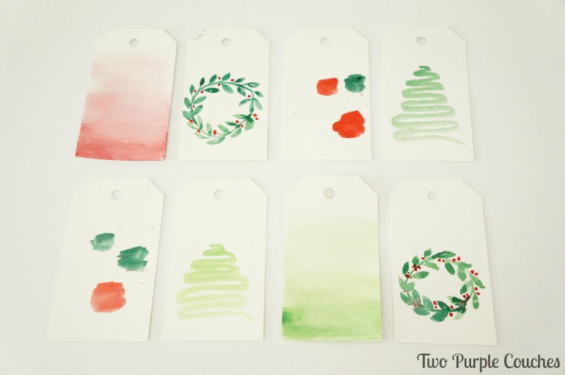Make your own watercolor Christmas gift tags! Simple yet so pretty!