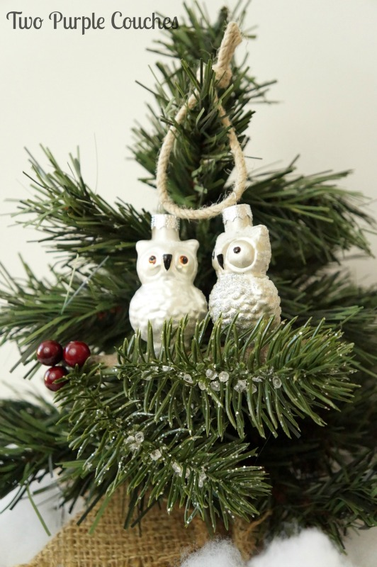 Make this cute wintry owls Christmas ornament in minutes. Great gift idea for owl lovers, natural and rustic decor!