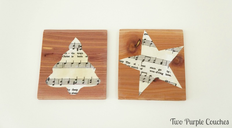 Tip: use cookie cutters to cut festive shapes out of sheet music for DIY Christmas ornaments