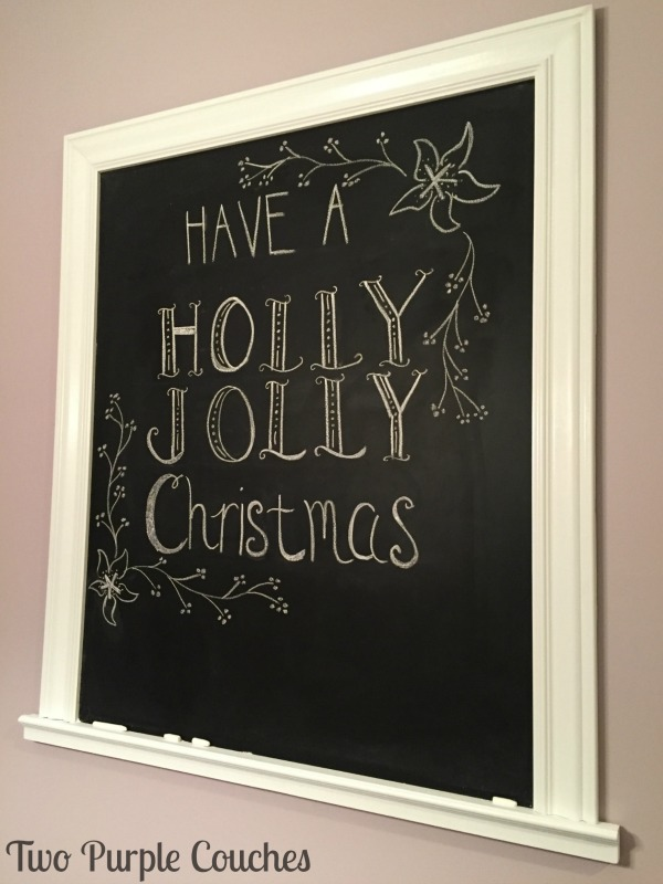 Cute idea for a hand-lettered Christmas chalkboard