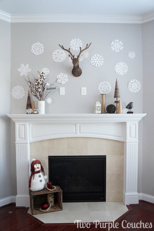 "Beautiful ""snow day"" winter mantel decor idea!"