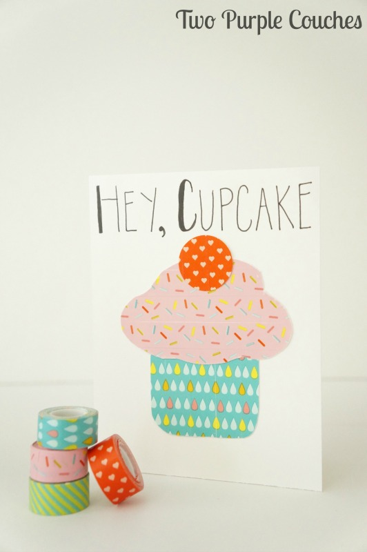 Make an adorable washi tape cupcake birthday card in minutes!