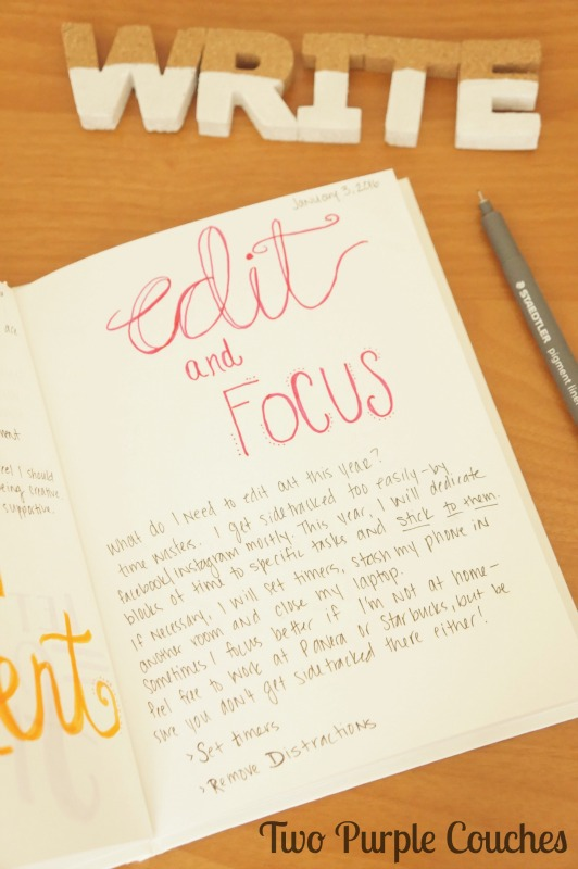 Hand-Lettering journal - creative goals for 2016
