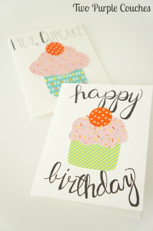 Simply adorable washi tape cupcake birthday cards