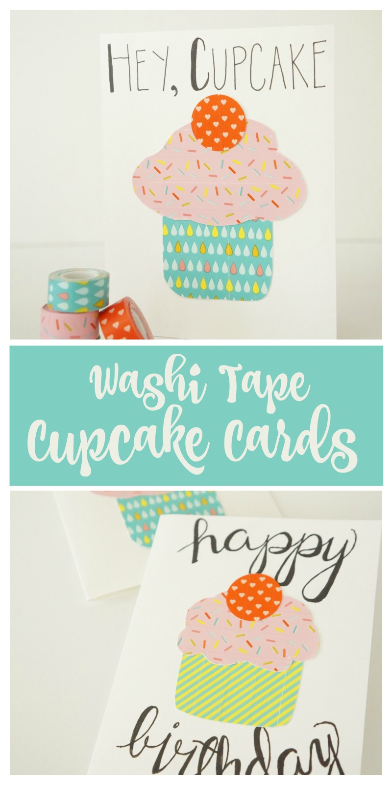 Too cute!! Love these simple cupcake birthday cards made from washi tape!