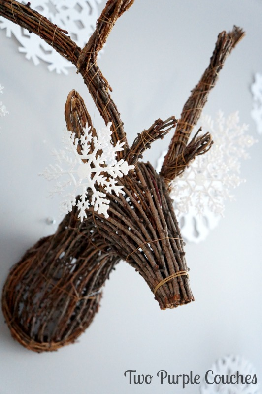 Love this! Decorate a stag head for winter with glittery snowflakes!