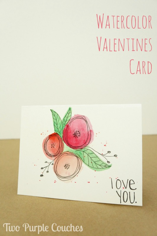 Give your sweetheart something handmade! Create this pretty watercolor Valentines card by combining simple hand drawn flowers with watercolors.