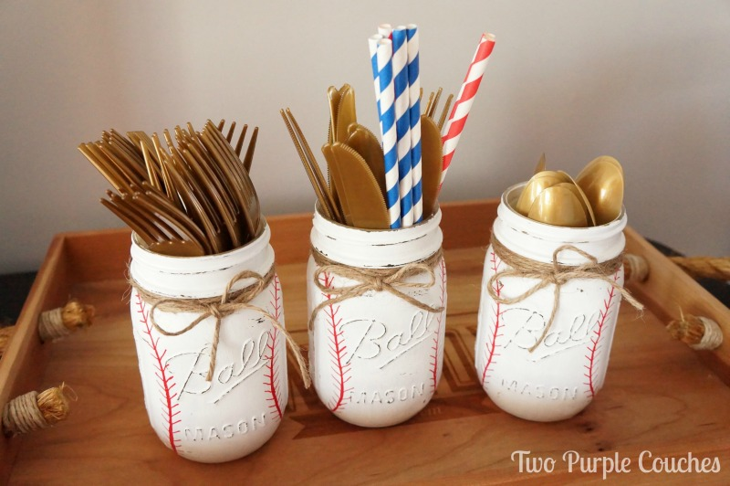 Baseball Mason Jar Utensil Caddies - these are so cute and easy to DIY for a baseball themed baby shower or kid's birthday party