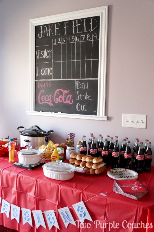 Baseball Themed Baby Shower - Concessions table full of ball park inspired foods like hot dogs and a nacho bar!