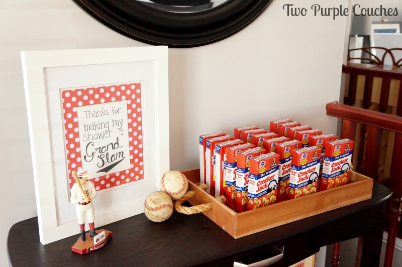 Boxes of Cracker Jack make perfect favors for a baseball themed baby shower or birthday party
