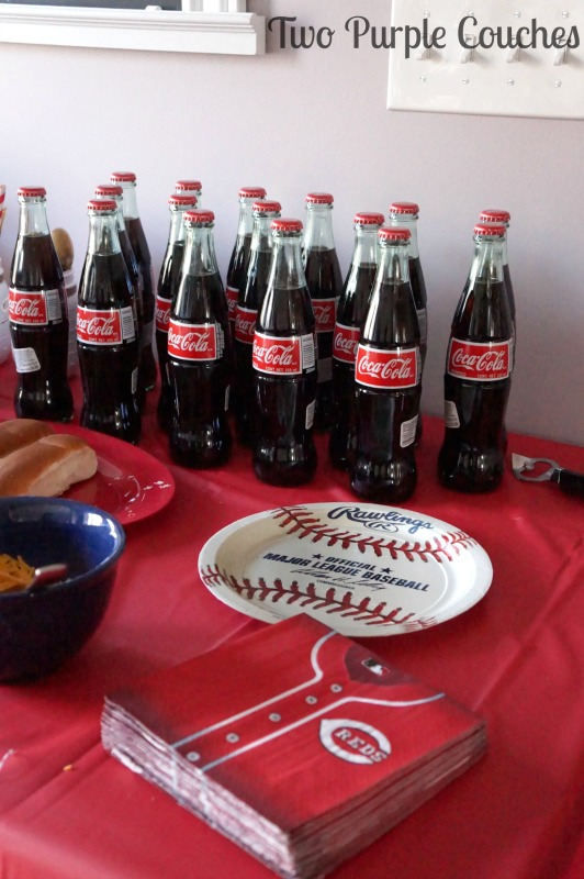 Serve Coke in bottles for a baseball themed baby shower or party