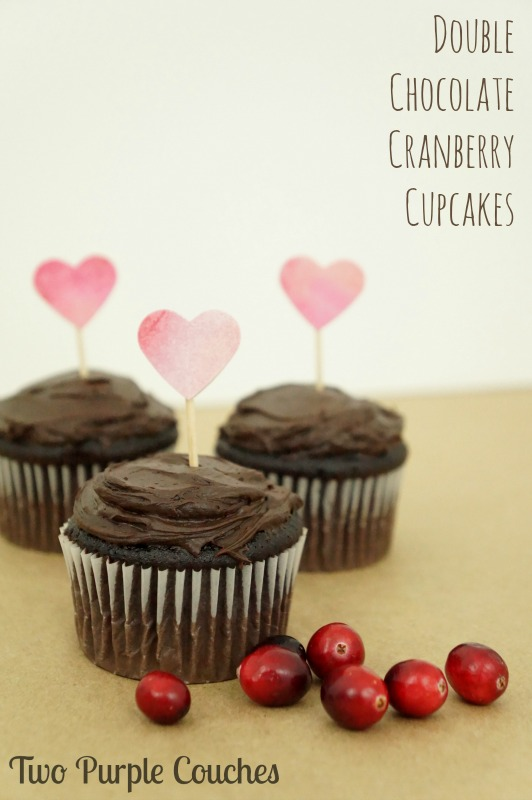 Double Chocolate Cranberry Cupcakes are a delicious sweet and tart treat for your Valentine, or any chocolate-lover in your life!