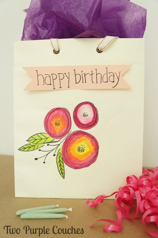 Cute idea to dress up a plain gift bag using hand lettering embellishments