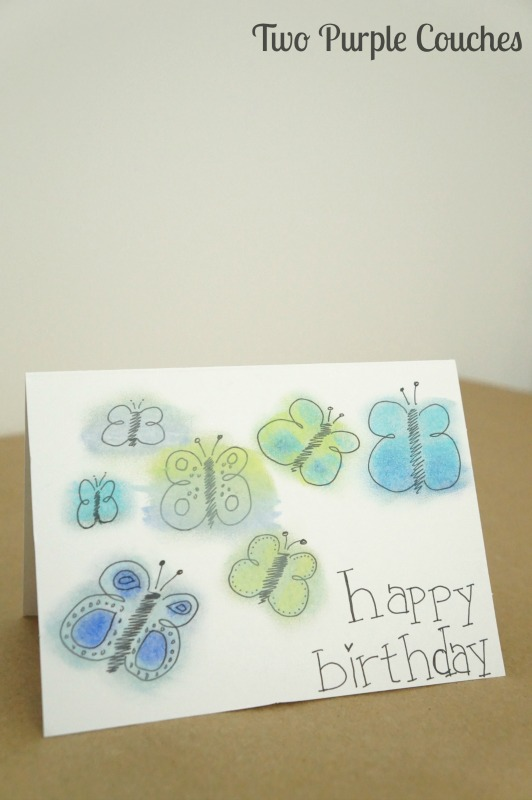 Butterflies Birthday Card Two Purple Couches