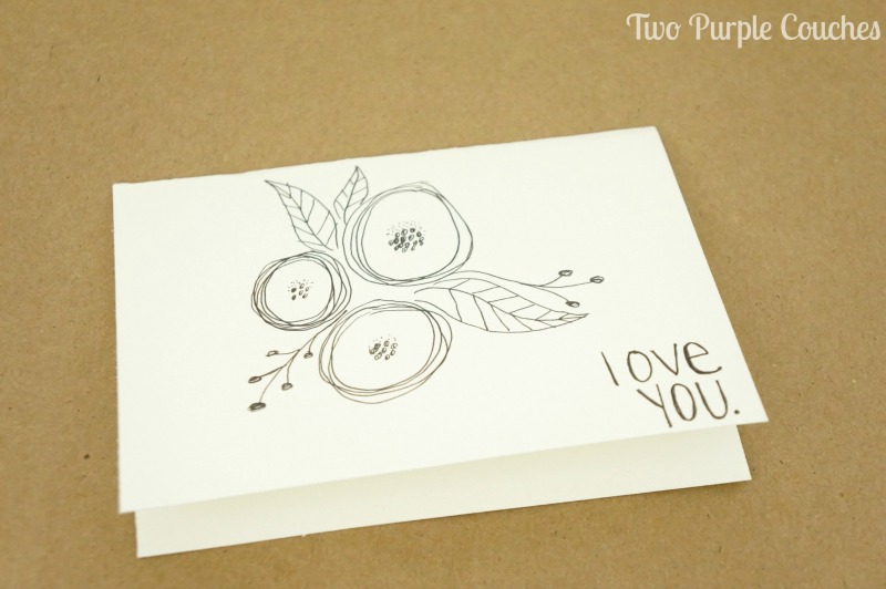 simple hand drawn florals and lettered greeting