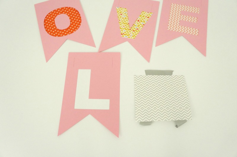 how to make a washi tape banner for Valentine's Day