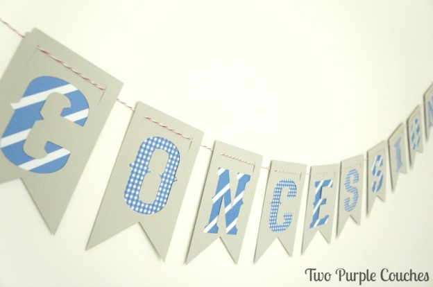 Make this easy DIY Concessions banner for a sports themed birthday party or baseball shower.