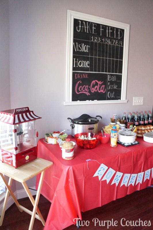 Concessions table at a baseball themed baby shower