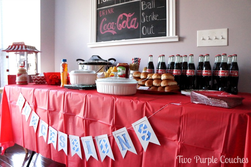 "Great idea for a baseball themed shower or party - turn the food table into the ""Concessions Stand"""
